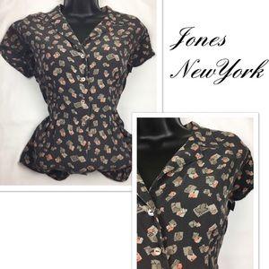 Jones NewYork 100% silk button down blouse